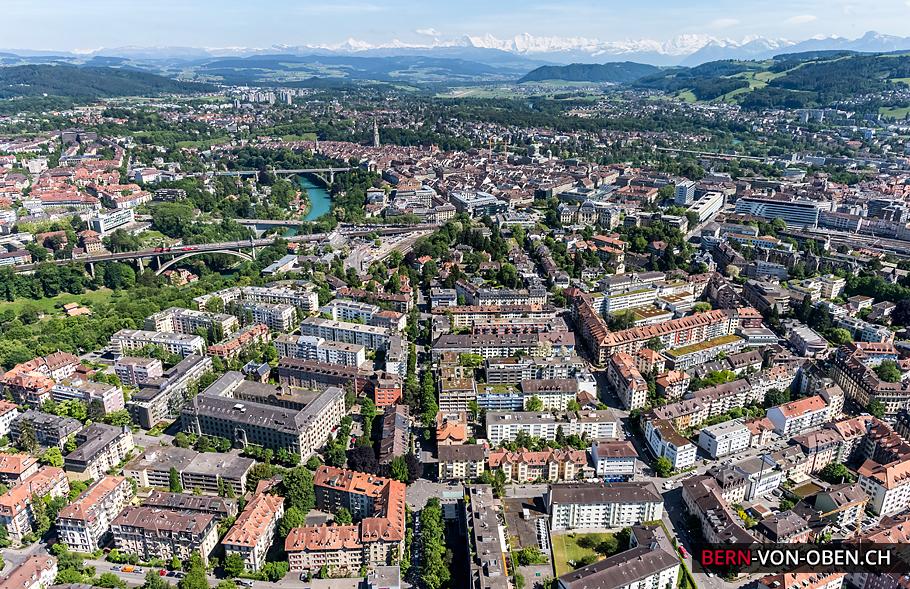 Bern, Aare, Altstadt, Bern, Luftaufnahme