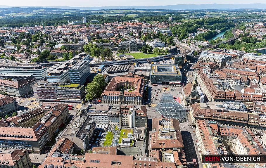 Bern Bahnhof, Grosse Schanze, Universität, Luftaufnahme