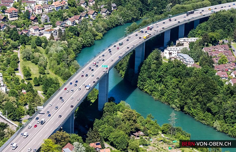 Felsenauviadukt, Bern, Autobahn, Luftaufnahme