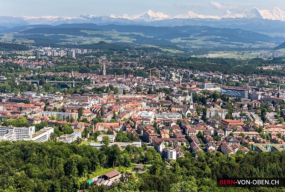 Länggasse, Alpen, Bern, Luftaufnahme