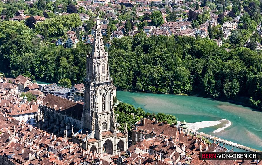 Münster, Altstadt, Aare, Bern, Luftaufnahme
