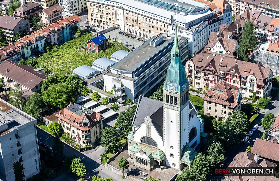 Pauluskirche, Unitobler, Länggasse, Bern, Luftaufnahme