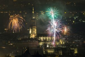 Münster, Bern, Luftaufnahme, Nacht