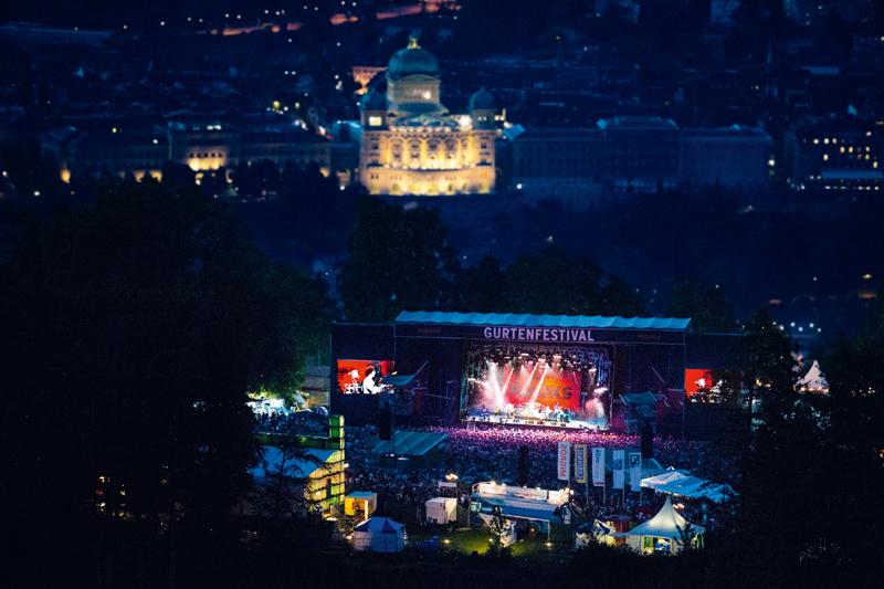 Gurtenfestival, Luftaufnahme, Nacht