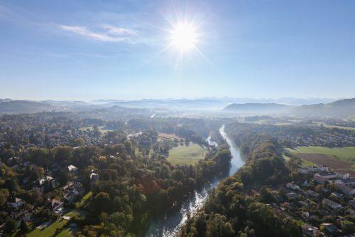 Aare, Elfenau, Bern, Luftaufnahme