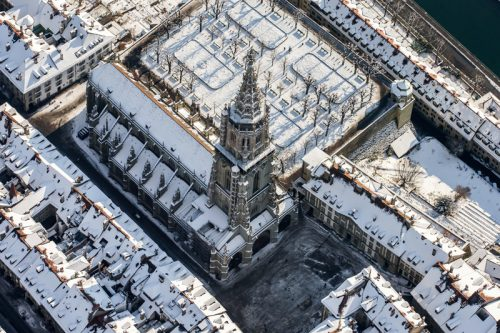Münster, Bern, Winter, Luftaufnahme