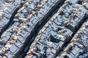 Altstadt, Bern, Schnee, Luftaufnahme