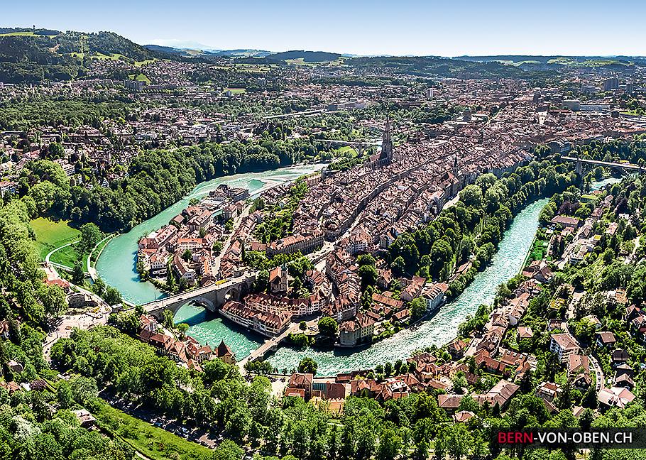 Bern, Altstadt, Aare, Luftaufnahme
